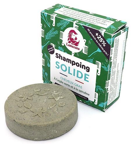 Shampooing solide cheveux gras argile verte et spiruline lamazuna vrac et local allemans